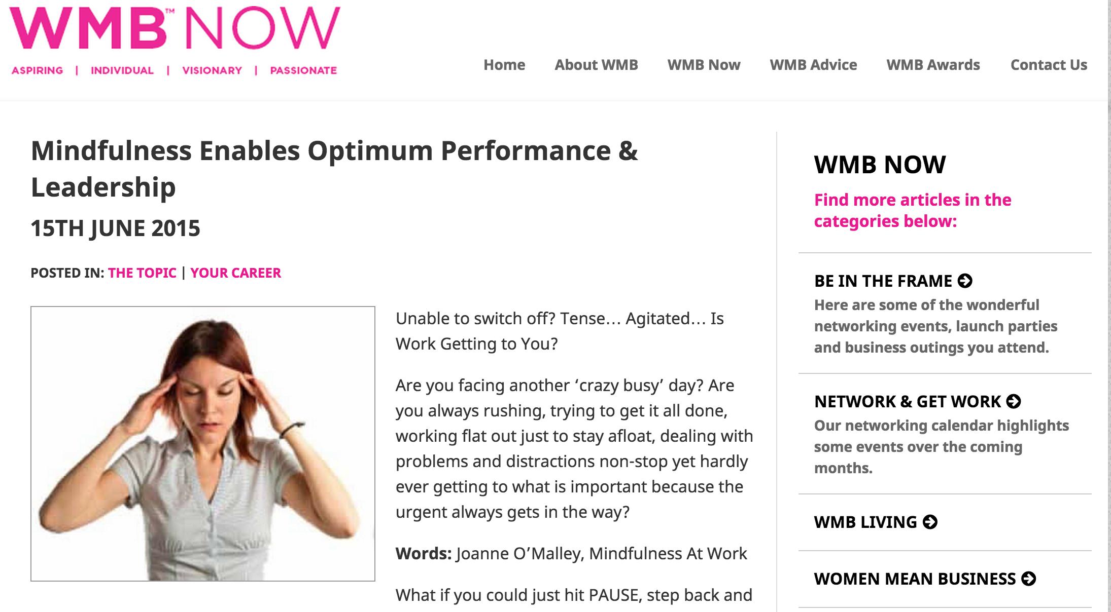 WMB : Mindfulness enables optimum performance