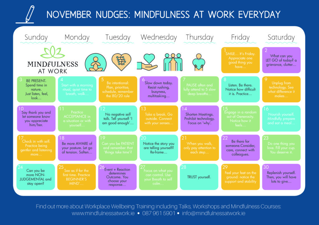 November Calendar to remind people to be Mindful at Work EVERYDAY